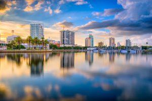 St. Petersburg, Florida, USA downtown city skyline on the bay